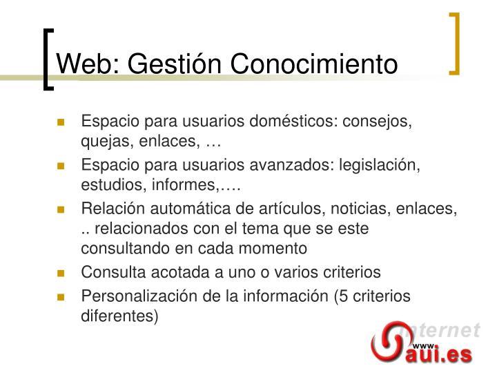 Web: Gestión Conocimiento
