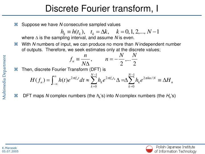 Discrete Fourier transform, I