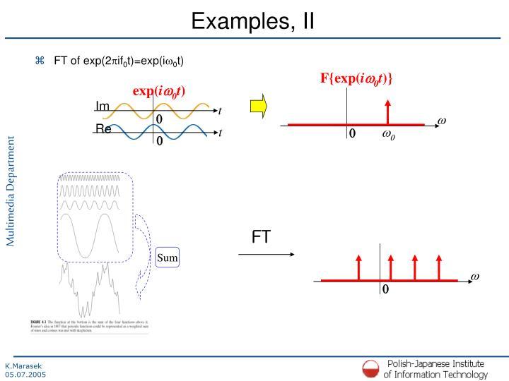 Examples, II