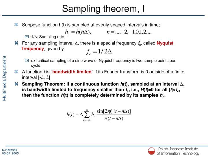 Sampling theorem, I