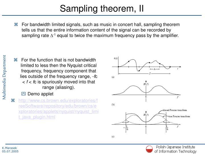 Sampling theorem, II