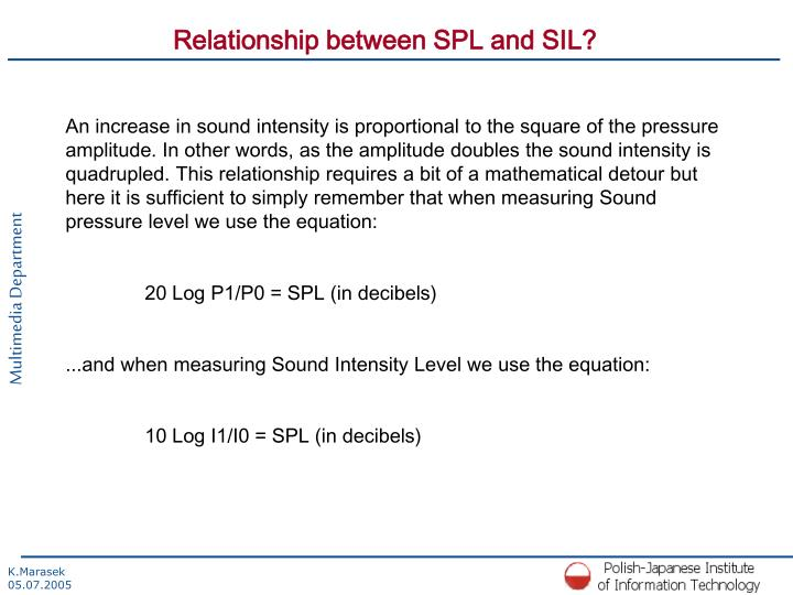 Relationship between SPL and SIL?