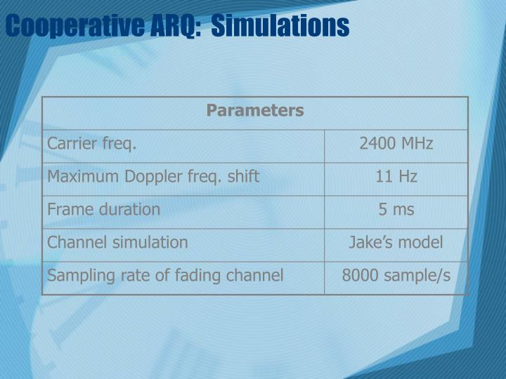 Cooperative ARQ:  Simulations