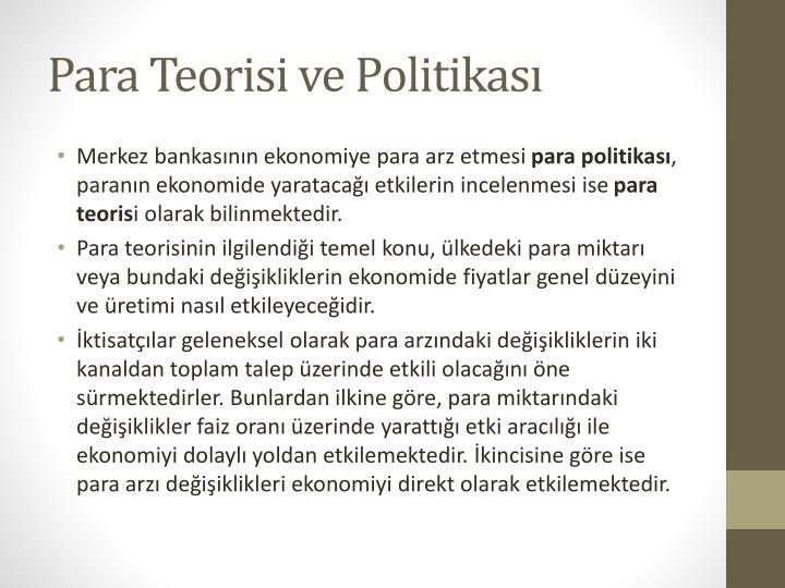 Para Teorisi ve Politikası