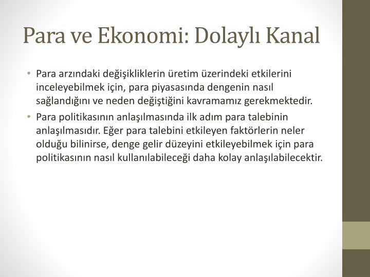 Para ve Ekonomi: Dolaylı Kanal