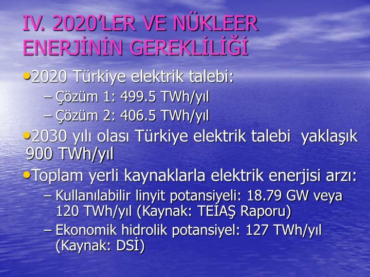IV. 2020LER VE NKLEER ENERJNN GEREKLL