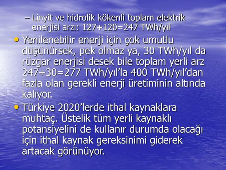Linyit ve hidrolik kkenli toplam elektrik enerjisi arz: 127+120=247 TWh/yl