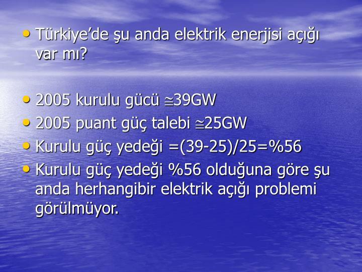 Trkiyede u anda elektrik enerjisi a var m?