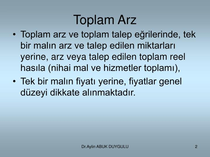 Toplam Arz