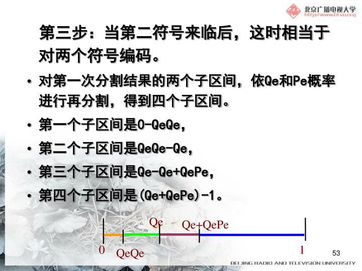 第三步:当第二符号来临后,这时相当于对两个符号编码。