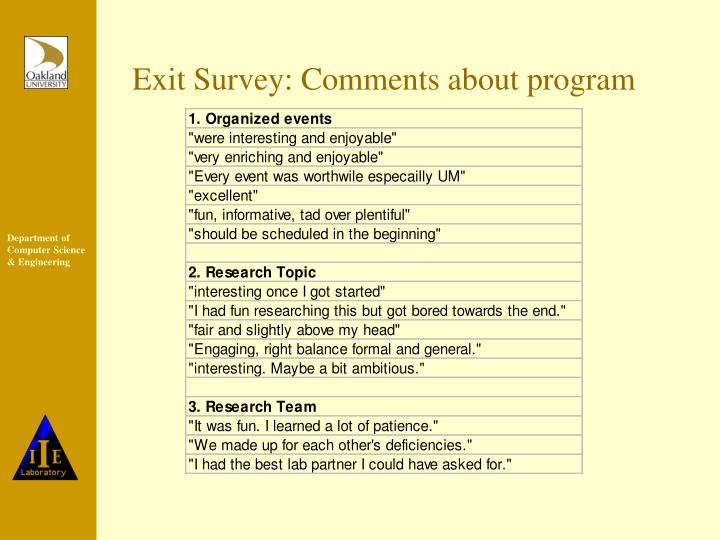 Exit Survey: Comments about program