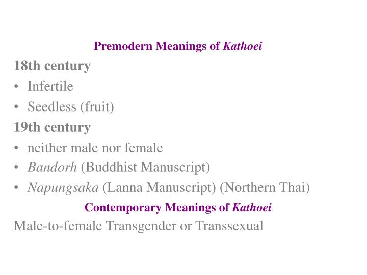 Premodern Meanings of