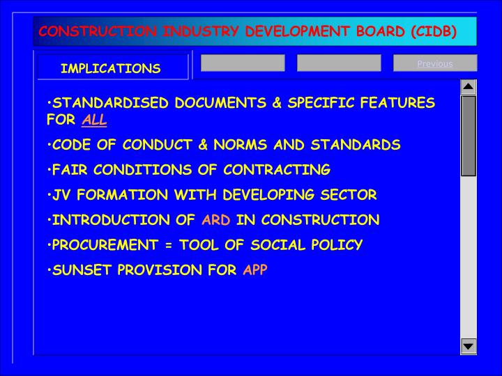 CONSTRUCTION INDUSTRY DEVELOPMENT BOARD (CIDB)