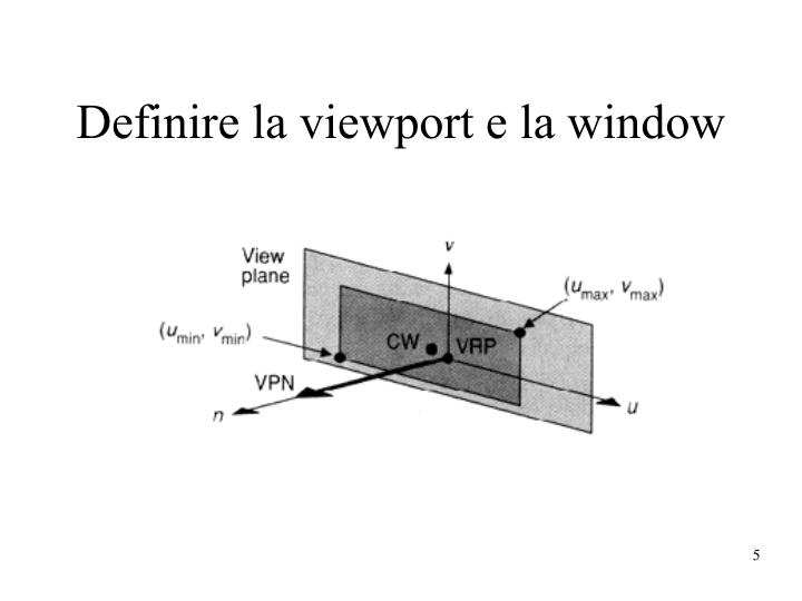 Definire la viewport e la window