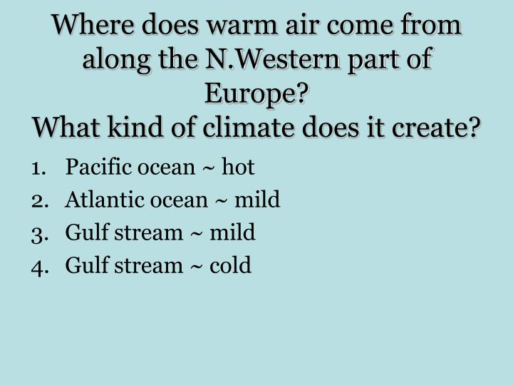 Where does warm air come from along the N.Western part of Europe?