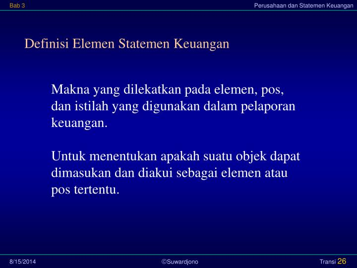 Definisi Elemen Statemen Keuangan