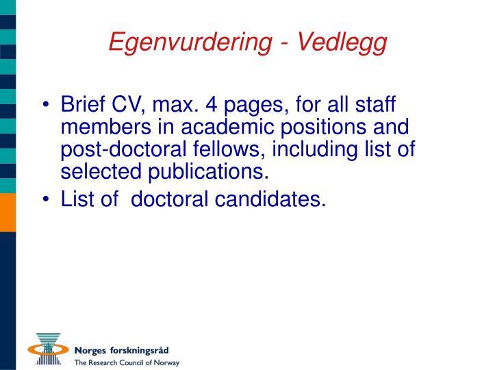 Egenvurdering - Vedlegg