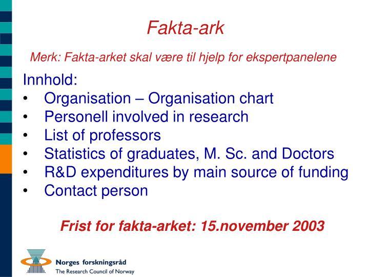 Fakta-ark