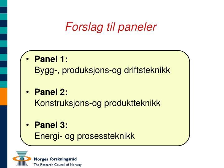 Forslag til paneler