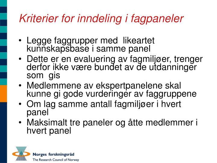 Kriterier for inndeling i fagpaneler