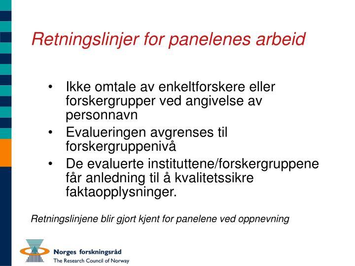 Retningslinjer for panelenes arbeid