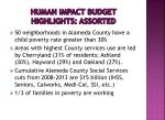 human impact budget highlights assorted
