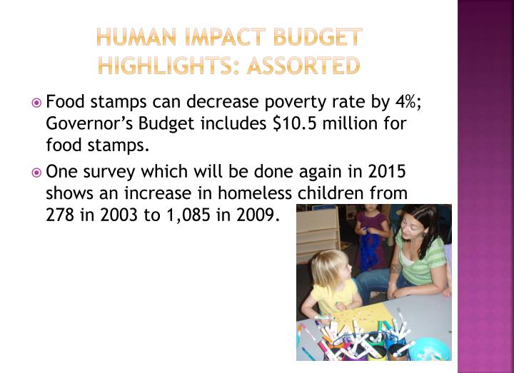 Human impact budget highlights: assorted