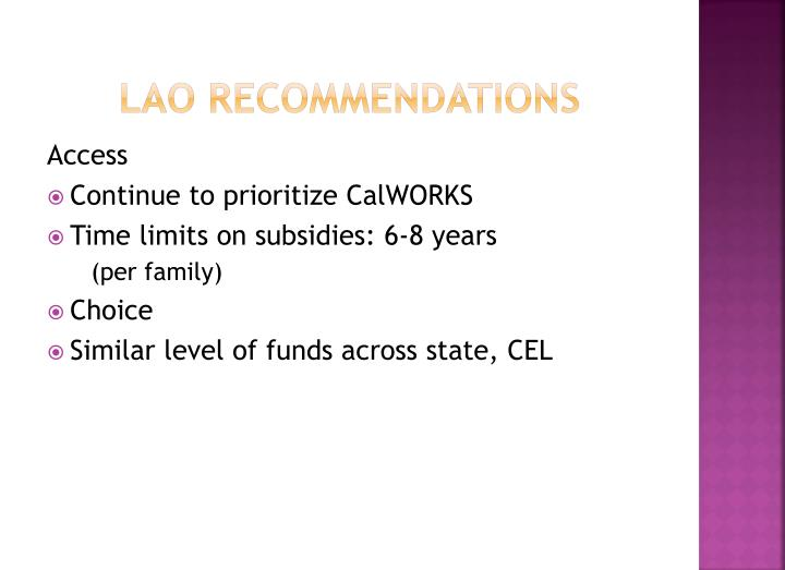 LAO Recommendations