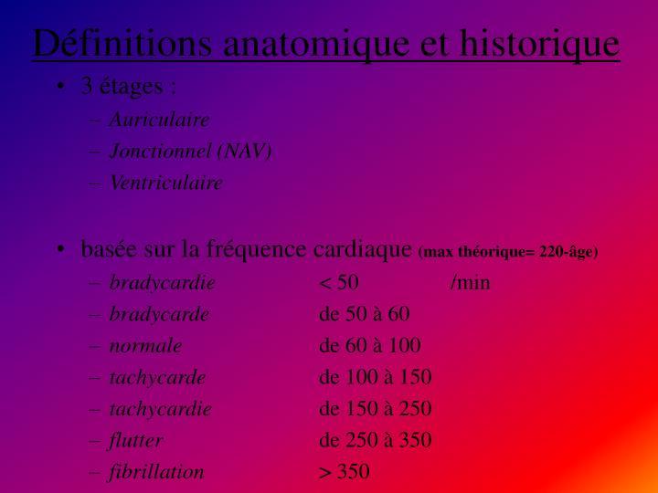 Définitions anatomique et historique