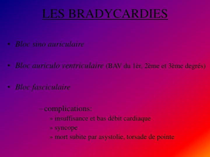 LES BRADYCARDIES