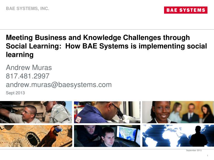 Meeting Business and Knowledge Challenges through Social Learning:  How BAE Systems is implementing...