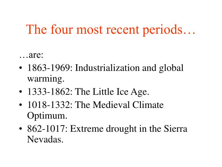 The four most recent periods…