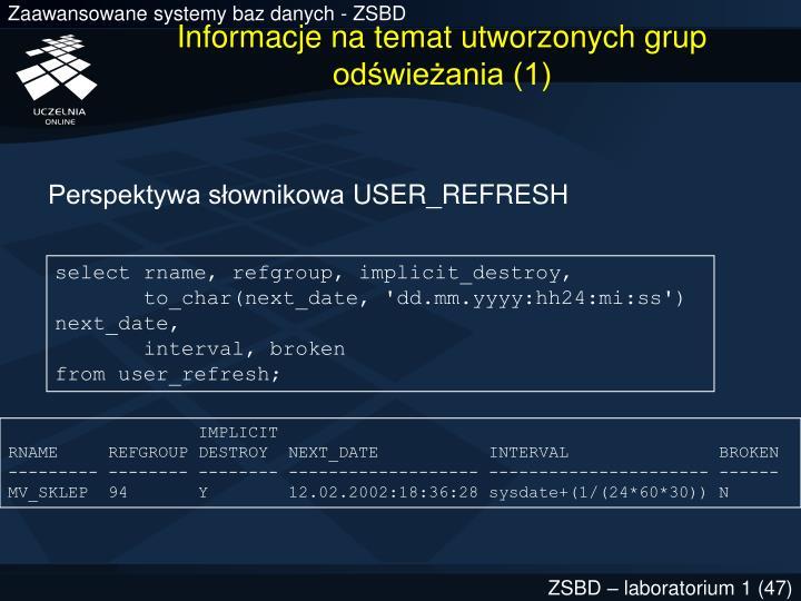 Informacje na temat utworzonych grup