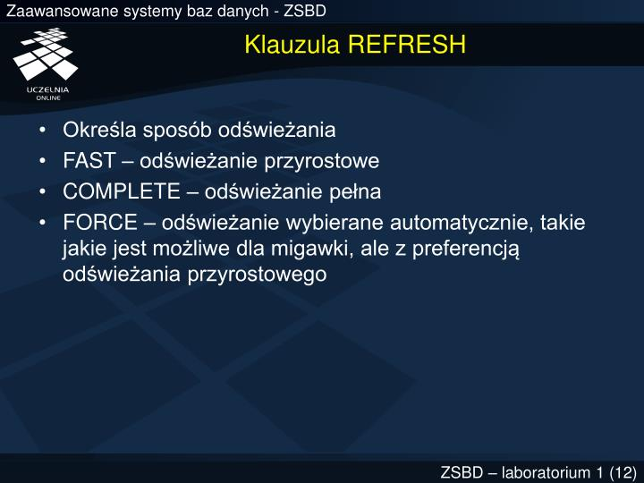 Klauzula REFRESH