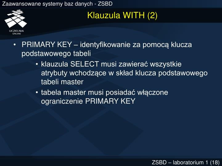 Klauzula WITH (2)