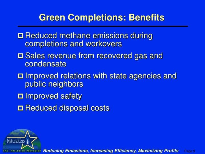 Green Completions: Benefits