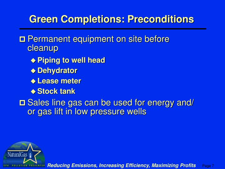 Green Completions: Preconditions