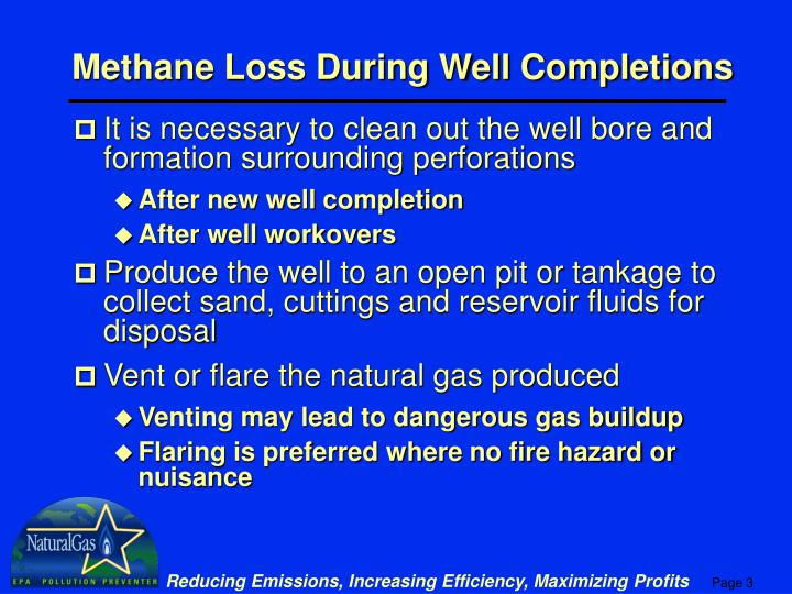 Methane Loss During Well Completions