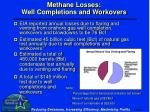 methane losses well completions and workovers