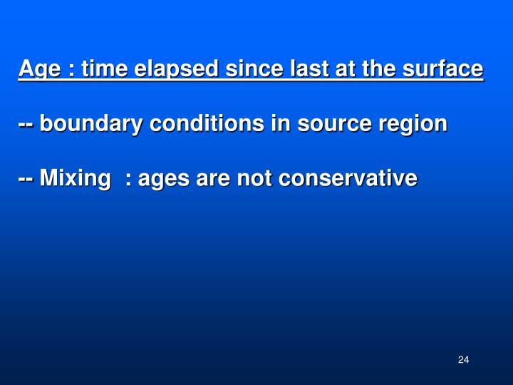 Age : time elapsed since last at the surface