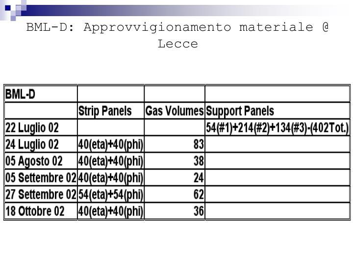 BML-D: Approvvigionamento materiale @ Lecce
