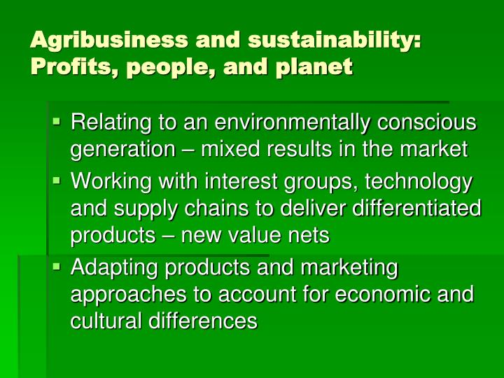 Agribusiness and sustainability: