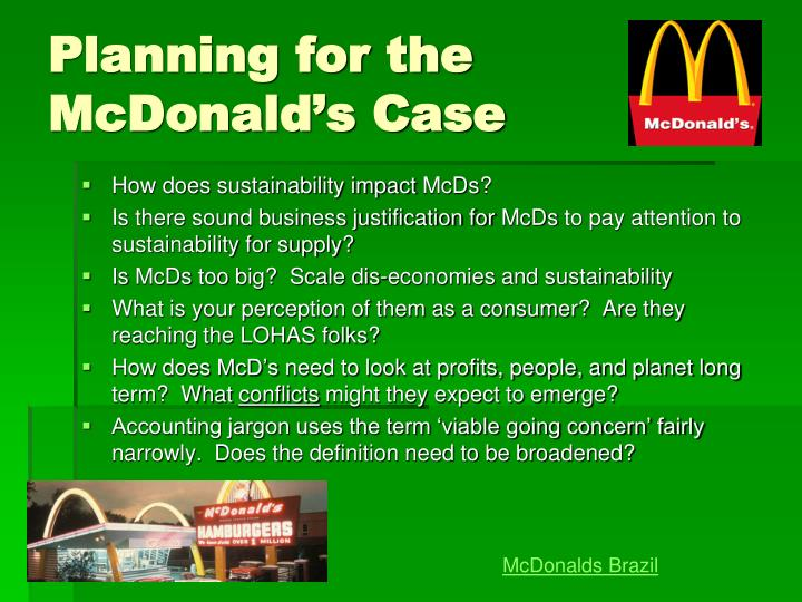Planning for the McDonald's Case