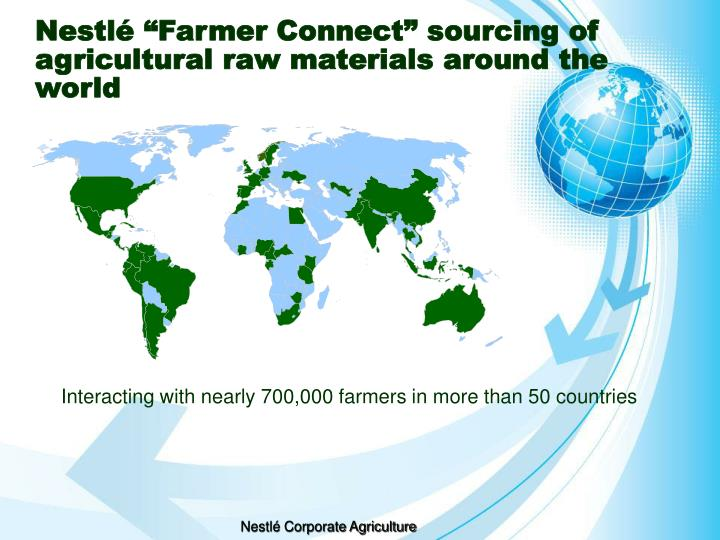 "Nestlé ""Farmer Connect"" sourcing of agricultural raw materials around the world"