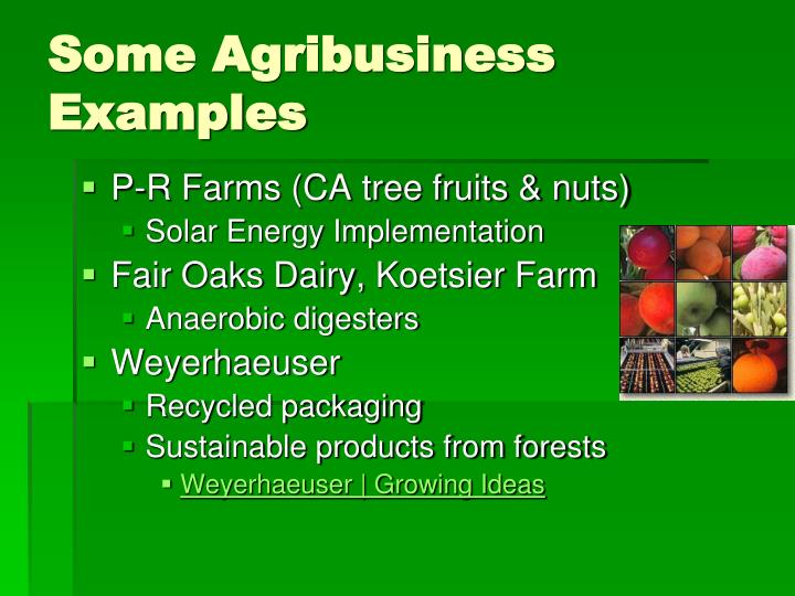 Some Agribusiness Examples