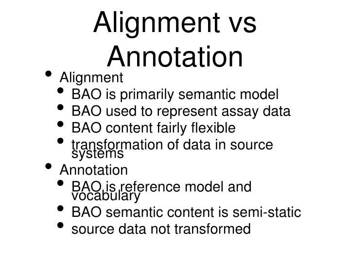 Alignment vs Annotation