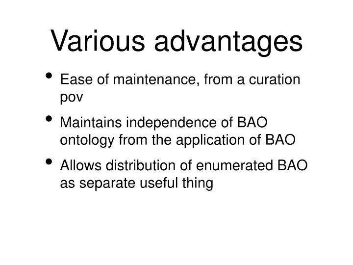Various advantages