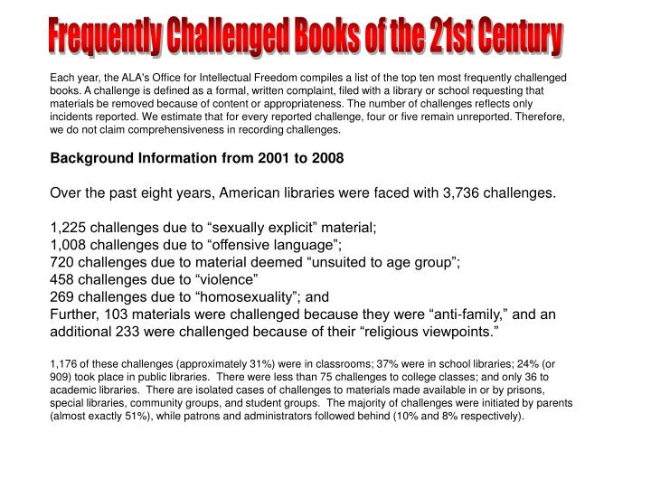 Frequently Challenged Books of the 21st Century