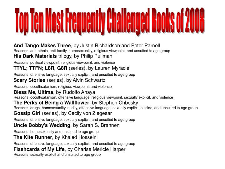 Top Ten Most Frequently Challenged Books of 2008