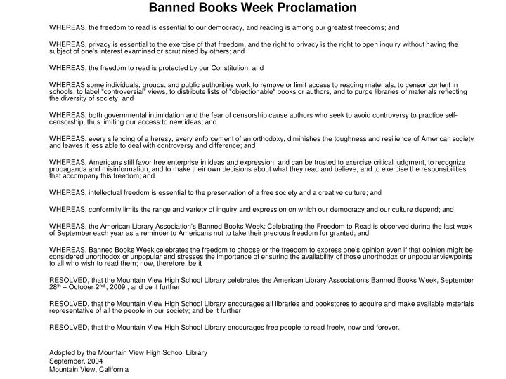 Banned Books Week Proclamation